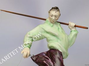 Рыбак удочка фарфор статуэтка Volkstedt Германия. Ярмарка Мастеров - ручная работа, handmade.