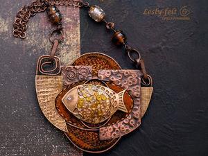 Золотая рыба Климта или Космическая рыба?. Ярмарка Мастеров - ручная работа, handmade.