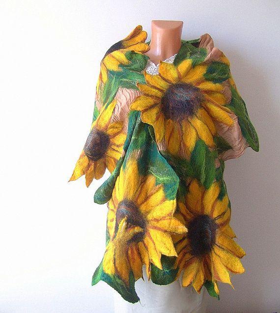 Beautiful - Nuno Felted scarf Sunflower yellow green flower by galafilc, $124.00