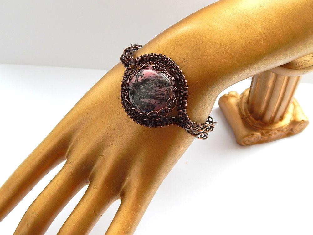 браслет медный, браслет с родонитом, распродажа украшений, аукцион на браслет, wire wrap