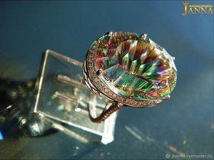 """Топаз. """"Амарант"""" кольцо с мистик топазом в огранке Concave. Ярмарка Мастеров - ручная работа, handmade."""