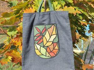 """Счастливый понедельник для складной сумочки """"Окно в осень"""". Ярмарка Мастеров - ручная работа, handmade."""