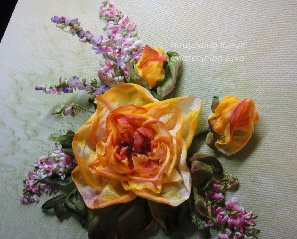 курсы вышивки, вышивать розу, юч, несерчай, роза из лент