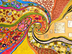 Яркая интерьерная картина  «Климт. Поцелуй» . Абстракция. Ярмарка Мастеров - ручная работа, handmade.